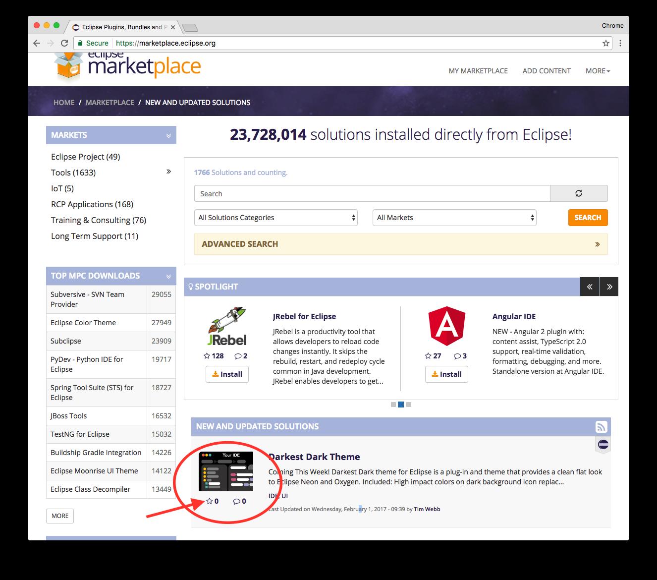 Tutorial – Eclipse Marketplace & Favourites List – blog
